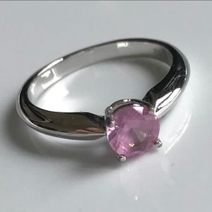 Pink Created Sapphire Sterling Silver ring